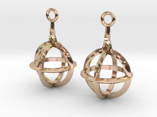 Sphere-Cage Earrings in 14k Rose Gold Plated Brass