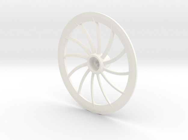 Turbine Hubcap Without Axle--RH in White Processed Versatile Plastic