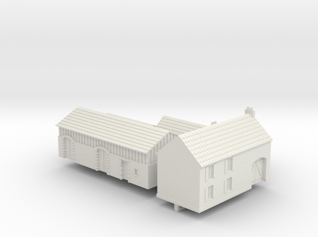 1:350 Two farm houses. in White Natural Versatile Plastic