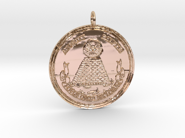 Heye Teknow Pendant in 14k Rose Gold Plated Brass
