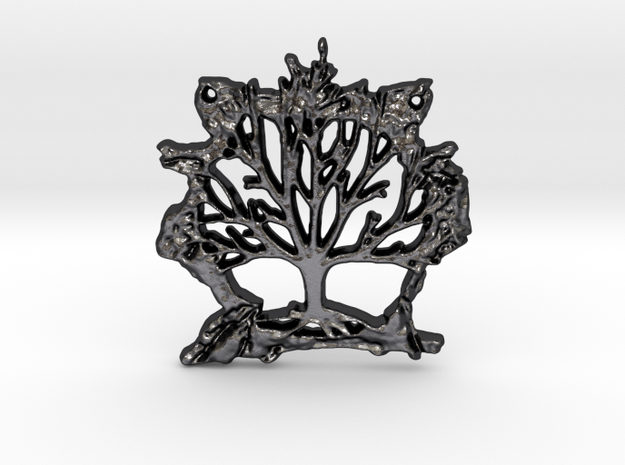 Tree of Life Pendant in Polished Grey Steel