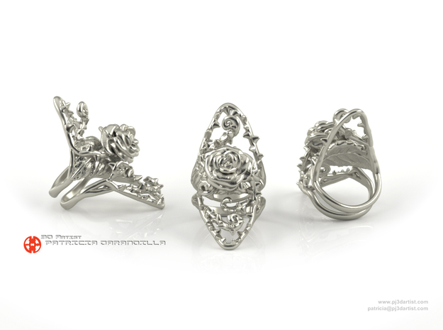 Ring Dangerous - Detailed rose Precious Metal in Polished Silver: 7 / 54