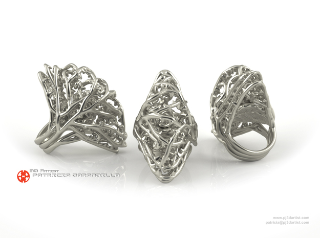Ring Dangerous 7 - Rose wrapped Precious Metal in Polished Silver