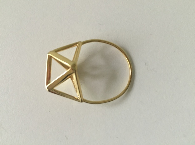Amplituhedron Ring  in 18k Gold Plated: 8 / 56.75