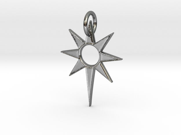 Star Pendant in Fine Detail Polished Silver