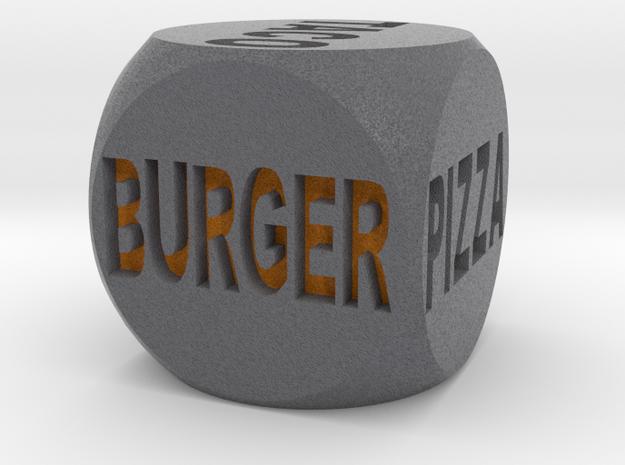 Fast Food Decision Die-Black with orange letters in Full Color Sandstone