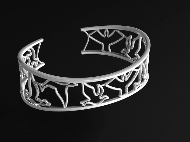 Birds Silhouette Bracelet (large) in Natural Silver