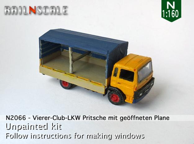 Vierer-Club-LKW Pritsche mit geöffneten Plane (N) in Frosted Ultra Detail