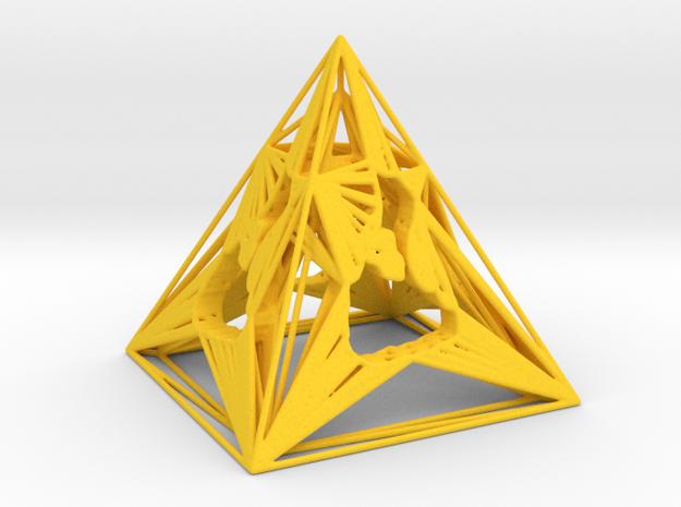 3D Printed Block Island Pyramid Tea Light in Yellow Processed Versatile Plastic