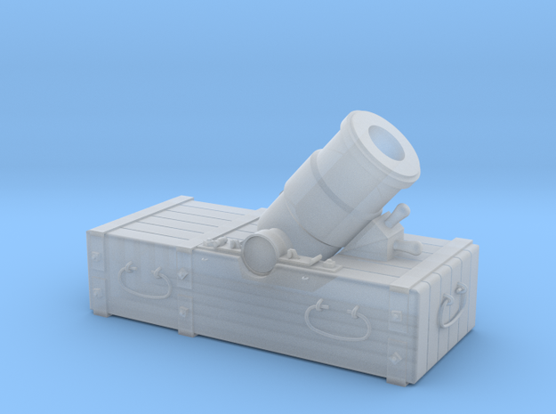 "18th-Century 8"" Mortar on Small Sled - 1/24 Scale in Smooth Fine Detail Plastic"