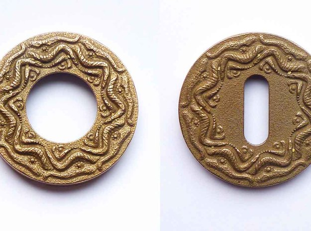 "Escutcheon for Dragon door handles - "" The Temple  in Polished Bronzed Silver Steel"