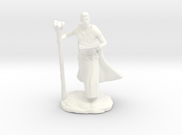 Male Elf Wizard With Spellbook And Staff in White Processed Versatile Plastic