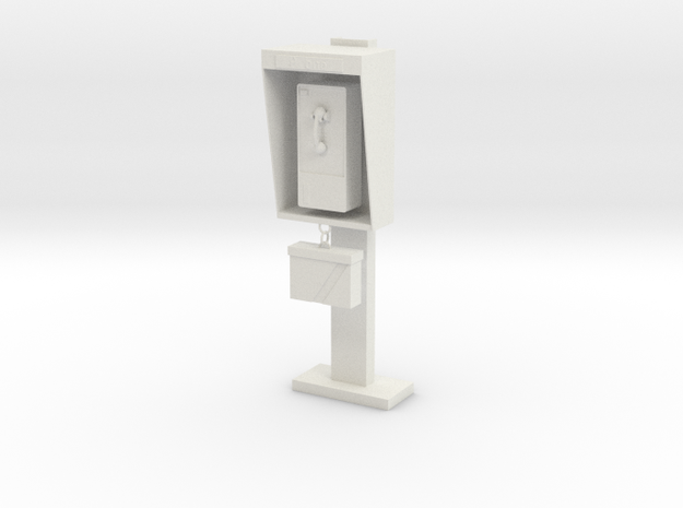 1:10 scale phone booth in White Natural Versatile Plastic