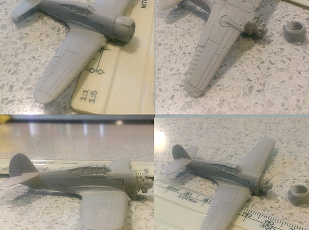 """1/144th - Curtiss 75 """"Hawk"""" (P36) 3d printed primed with scale"""