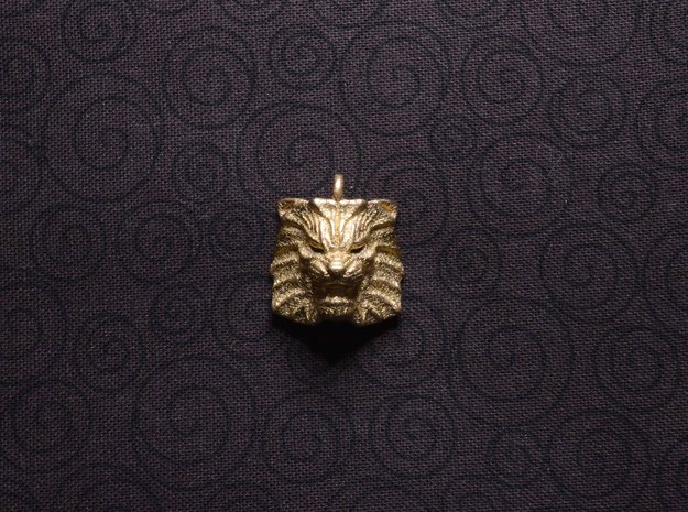 Lion Small Pendant in Polished Bronzed Silver Steel