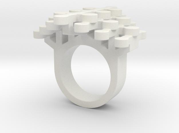 Geo Stamens ring size 5 in White Natural Versatile Plastic