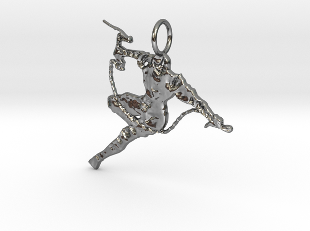 Ninja Pendant in Fine Detail Polished Silver