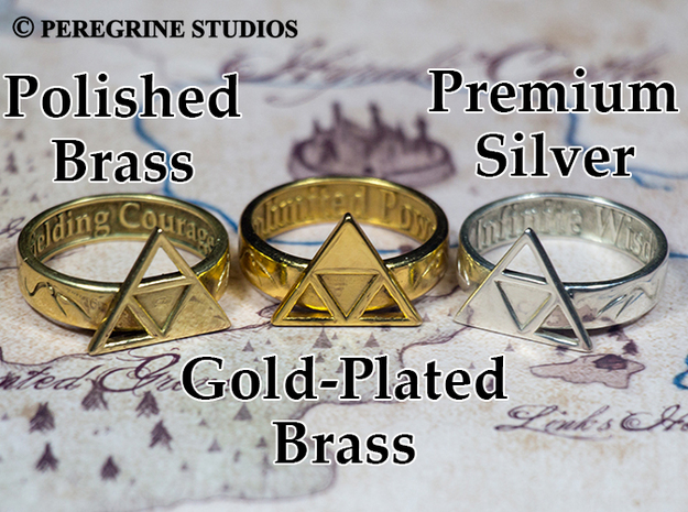 Ring - Triforce of Courage (Size 13) 3d printed