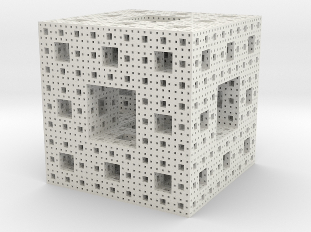 Sierpinski Cube in White Strong & Flexible