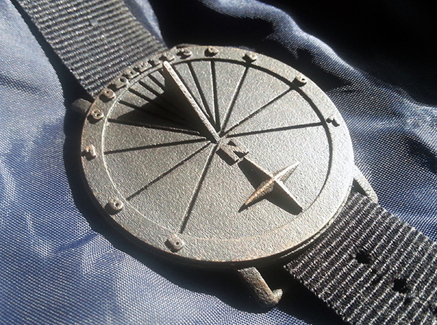 35N Sundial Wristwatch With Compass Rose in Polished Bronzed Silver Steel