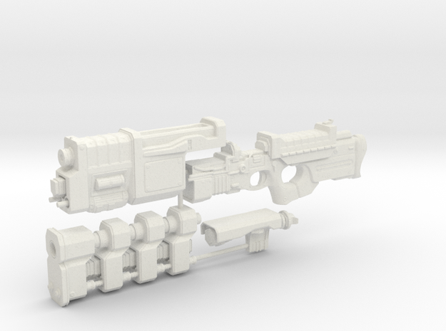 1/6th scale Railgun Extended (4 part kit) in White Natural Versatile Plastic