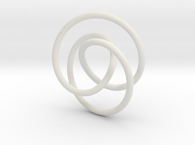 Smooth 2bridge Trefoil Torus Knot in White Natural Versatile Plastic
