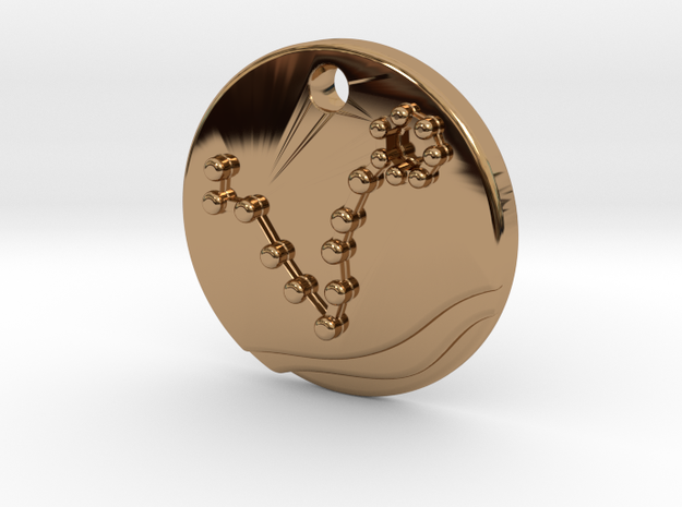 Pisces Pendant in Polished Brass
