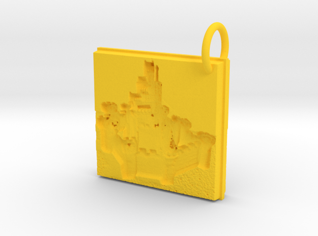 Enchanted Storybook Castles Keychain in Yellow Processed Versatile Plastic