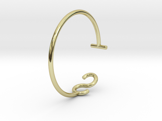 S & T Letter Series - Ring 17.3 mm in 18k Gold Plated Brass