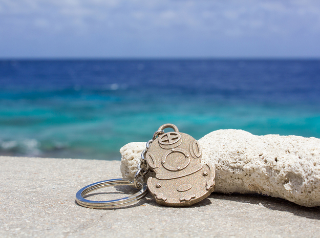 Diving Helmet Keychain in Polished Bronzed Silver Steel