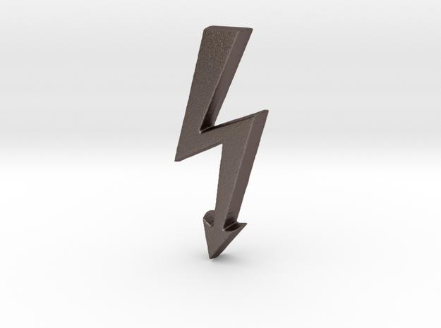 Electrical Hazard Lightning Bolt  in Polished Bronzed Silver Steel