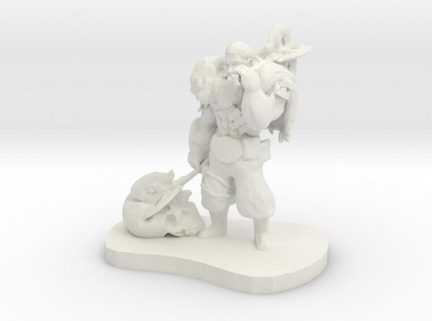 Barbarian Warrior Figurine in White Natural Versatile Plastic