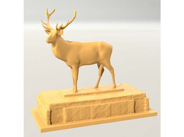 Stag on plinth comedy in White Natural Versatile Plastic