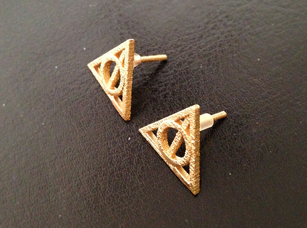 Harry Potter Earrings Deathly Hallows Studs 3d printed