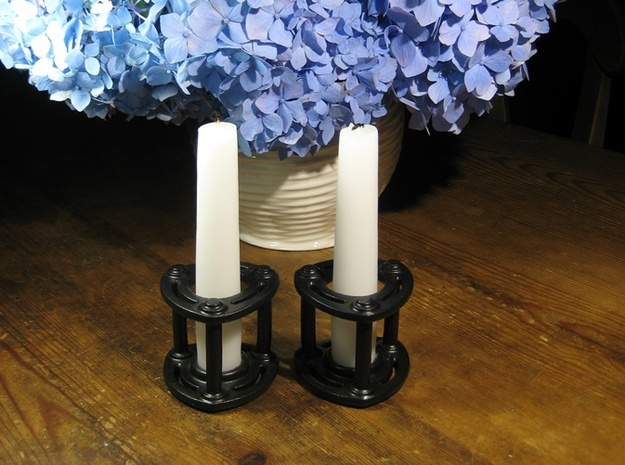Isolator Candle Holder 3d printed Satin Black Ceramic