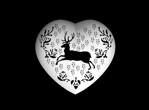 Small Stag Heart by Helen & Colin David 3d printed Stag design