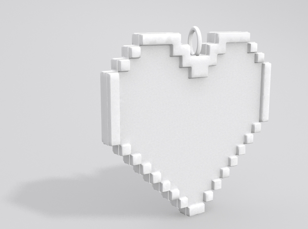 Pixel Heart Necklace Pendant or Ornament FIXED 3d printed Sample render