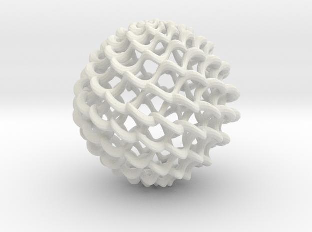 Twistball-small in White Natural Versatile Plastic