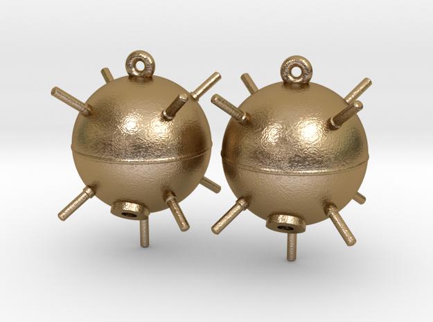 Sea Mine Earrings in Polished Gold Steel