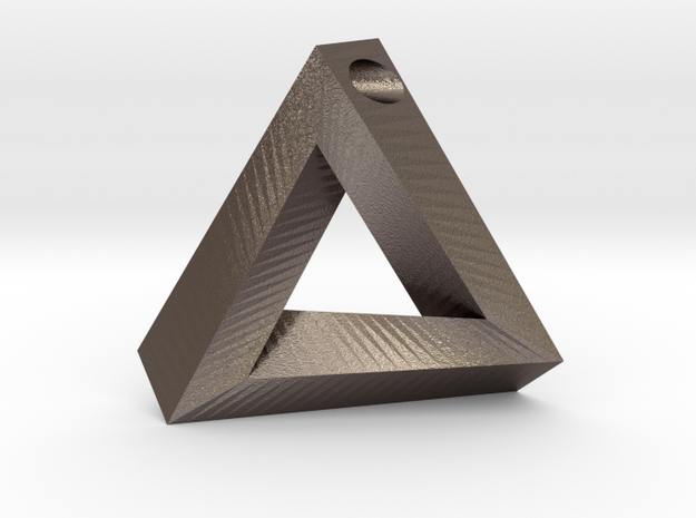Penrose Triangle - Pendant (3.5cm | 3.5mm hole) in Polished Bronzed Silver Steel