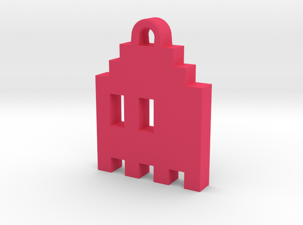 Pac Man Ghost 8-bit Earring 1 (looks L/R | moving) in Pink Processed Versatile Plastic