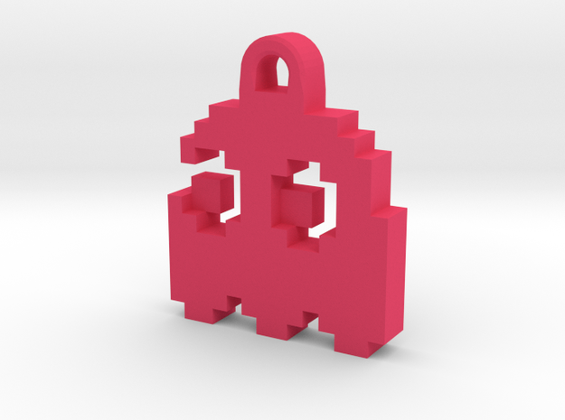 Pac Man Ghost 8-bit Earring 2 (looks left) in Pink Processed Versatile Plastic