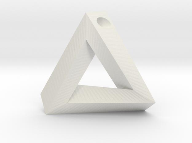 Penrose Triangle - Pendant (3.5cm | 3mm hole) in White Natural Versatile Plastic