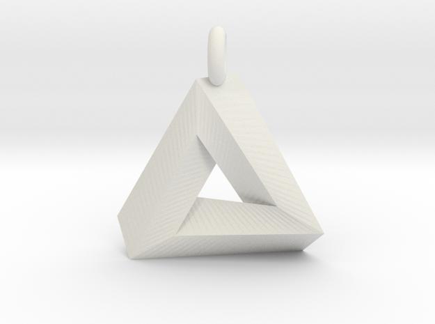 Penrose Triangle - Pendant (3cm | 3.5mm O-Ring) in White Natural Versatile Plastic