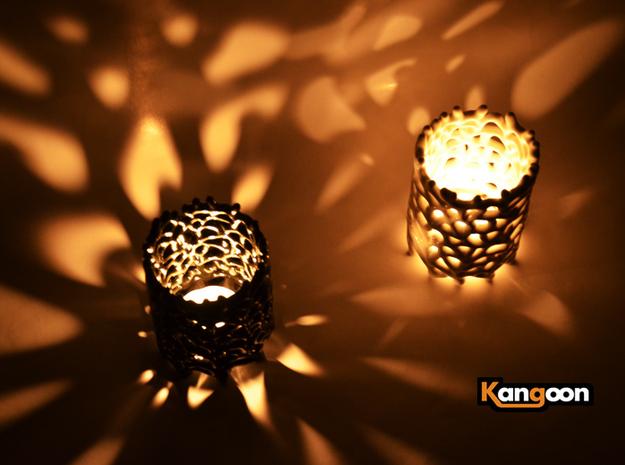 Coraline Tealight 6 Ceramic Colors 3d printed Gloss Black Ceramics & Glazed Ceramics - printed