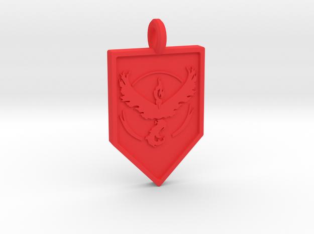 Team Valor Badge Keychain in Red Processed Versatile Plastic