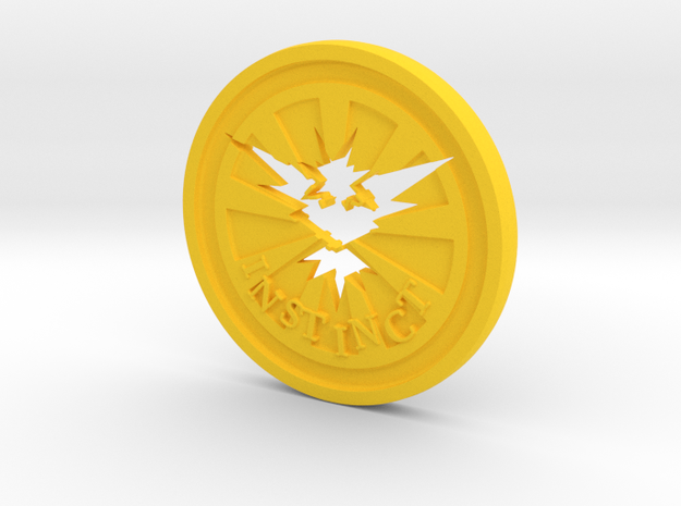 Pokemon Go Team Instinct Challenge Coin in Yellow Processed Versatile Plastic