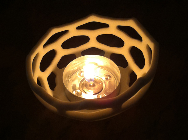 Coral style tea light bowl Ø14cm 3d printed 8cm Printed in White Strong Flexible