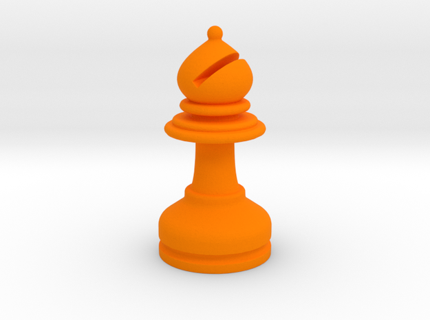 MILOSAURUS Chess MINI Staunton Bishop in Orange Processed Versatile Plastic