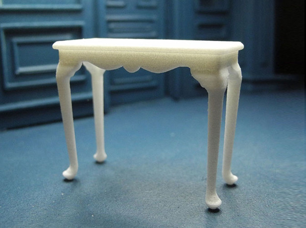 1:24 Queen Anne Fancy Console Table, Medium 3d printed Printed in White Strong & Flexible